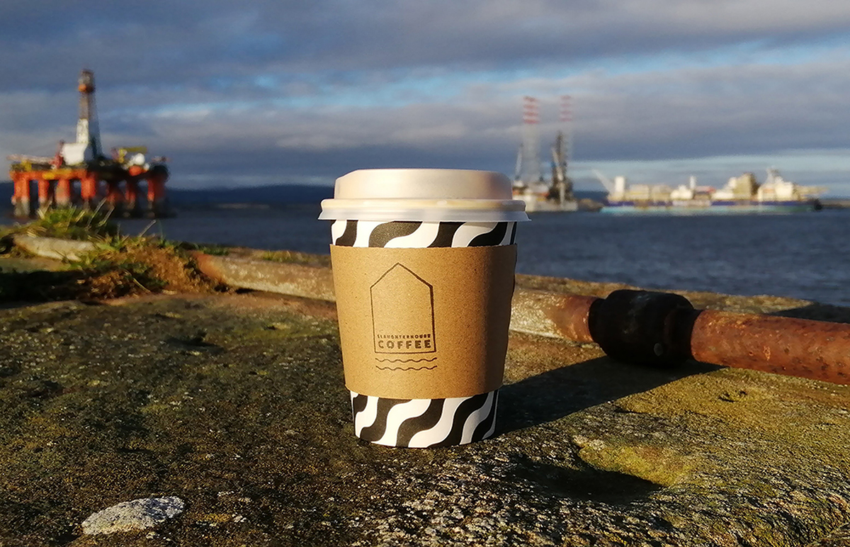 Slaughterhouse Coffee Cup on Cromarty Pier