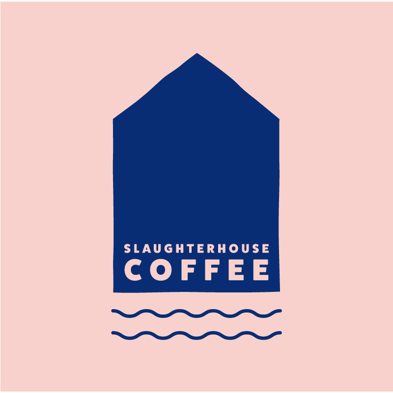 Slaughterhouse Coffee blue solid logo on pink background