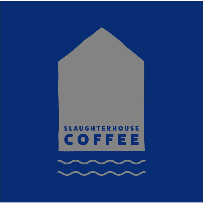 Slaughterhouse Coffee grey solid logo on blue background