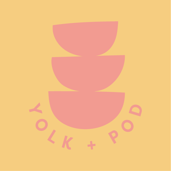 Pink Yolk + Pod logo on yellow background