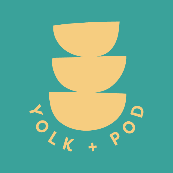 Yellow Yolk + Pod logo on teal background